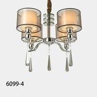 Solfart 6099 Chrome Metal Frame Fabric Shade Smoky Crystal Modern Bedroom Dining Room Living Room Chandelier