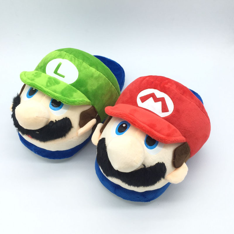 27cm Bros Luigi Mario Soft Plush Shoes Cartoon Stuffed Soft Slipper Shoes bag packaging