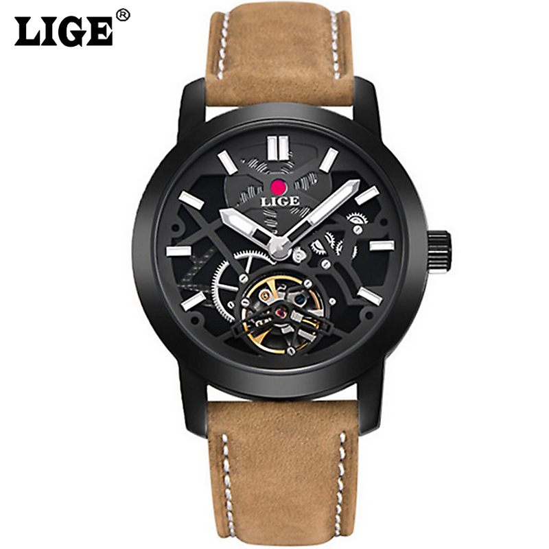 Relogio Masculino LIGE Men's Luxury Brand Military Mechanical Watches Leather Hollow Skeleton Automatic Watch Relojes Hombre relogio masculino 2017 forsining men s luxury brand military automatic mechanical watches leather watch relojes hombre