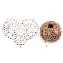 Innovative Portable Cute Love Wooden Clip Hemp Rope Set Mini Peach Heart Clips 100M Sewing Accessories