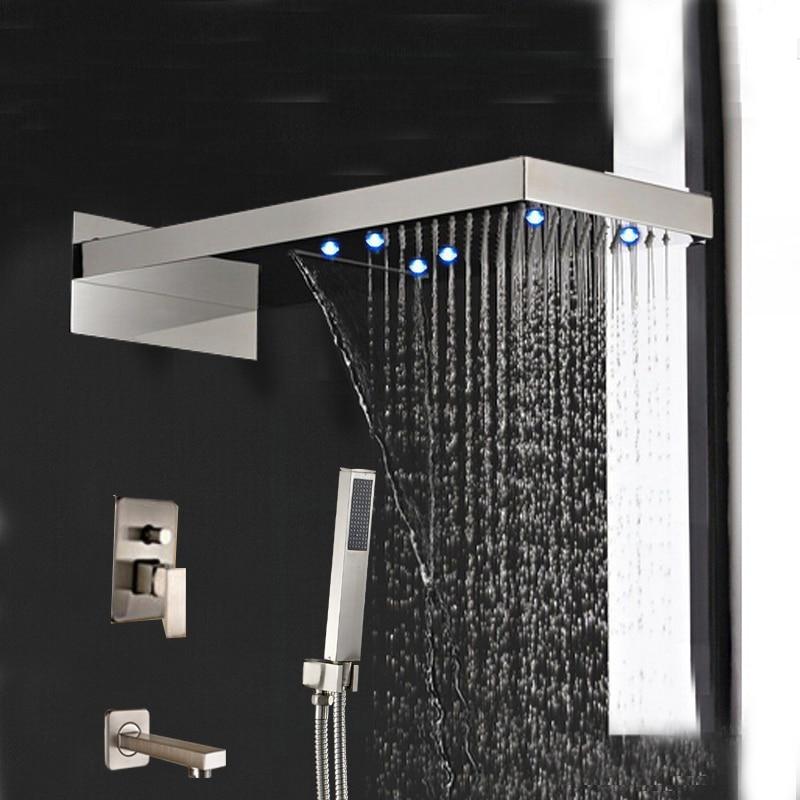 Luxury Brushed Nickel Waterfall Rain Shower Head Tub Spout W/ Hand Shower Mixer wall mount brushed nickel shower head faucet tub spout mixer hand shower spray