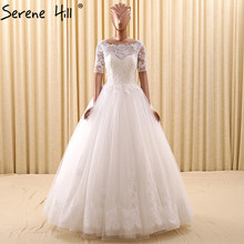White CUT-OUT Sexy Princess Wedding Dresses 2017 Half Sleeves Simple Tulle Bridal Wedding Dresses Robe De Mariee