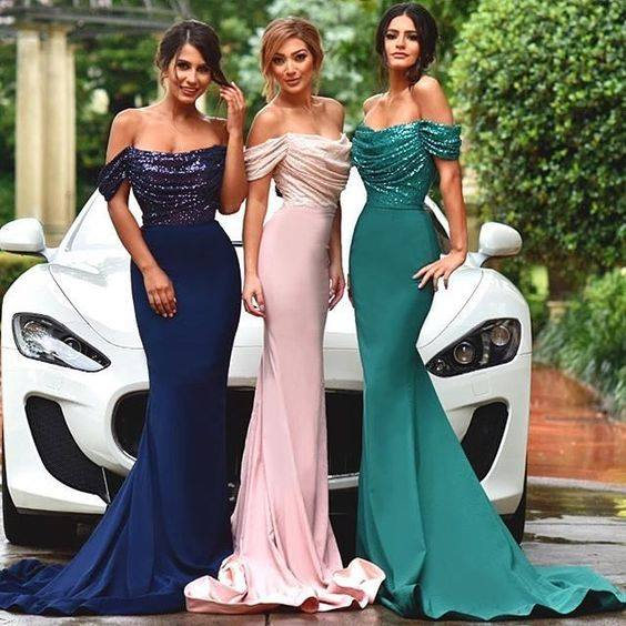 Green 2019 Cheap   Bridesmaid     Dresses   Under 50 Mermaid Off The Shoulder Sequins Long Wedding Party   Dresses   For Women Party Wedding