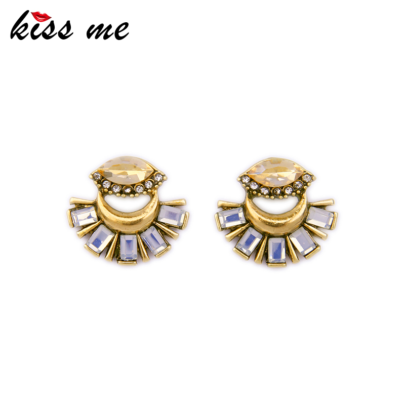 KISS ME Latest Stud Earrings Antique Gold Color Statement Jewelry Korean Fashion Earrings for Girls