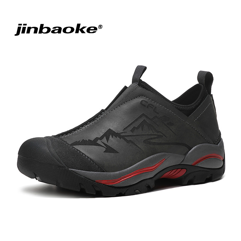 JNBAOKE Genuine Leather Men Hiking Shoes Non-slip Wear-resistant Climbing Shoes Outdoor Waterproof Sport Walking Travel Sneakers mulinsen brand new winter men sports hiking shoes cowhide inside keep warm sport shoes wear non slip outdoor sneaker 250666