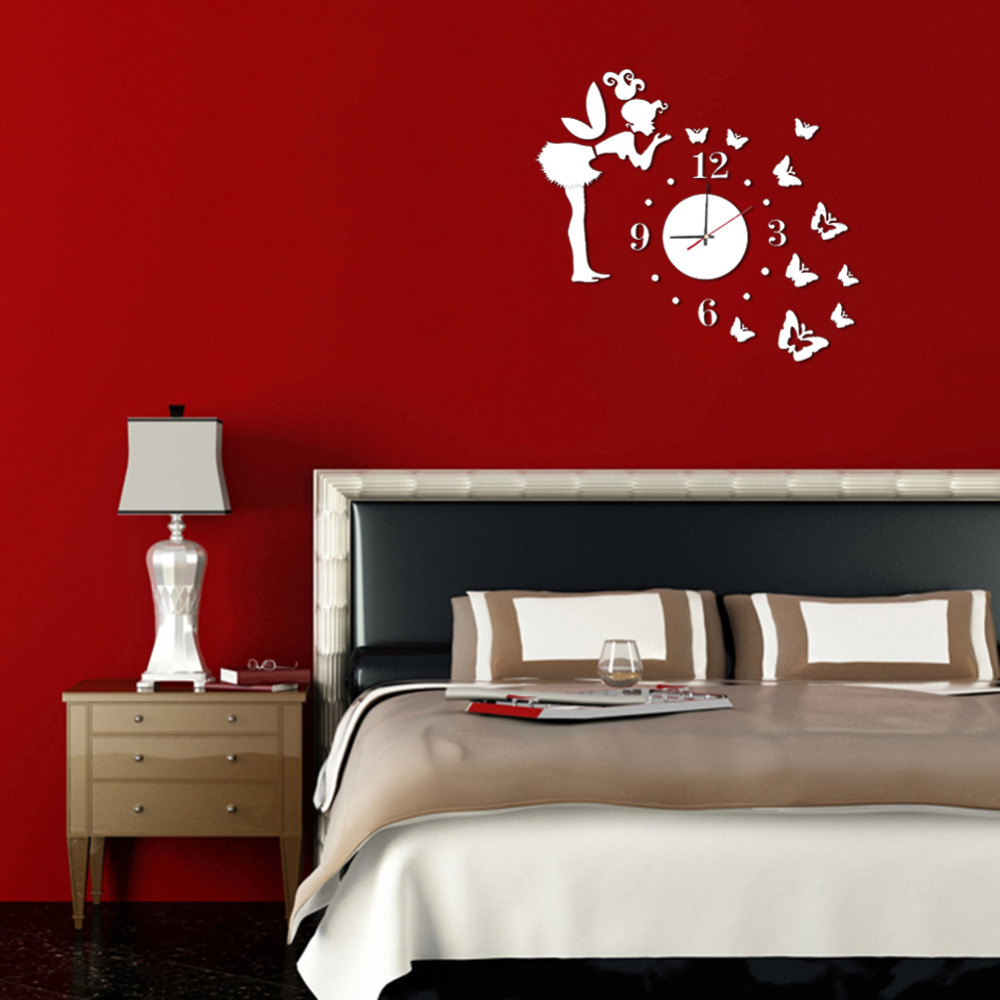 3D Wall Clock Wall Mirror Sticker Clock Watch Mirror Stickers Home Butterfly  Wall Decor Decals Wall Clock Modern Design 3 In Wall Clocks From Home U0026  Garden ...