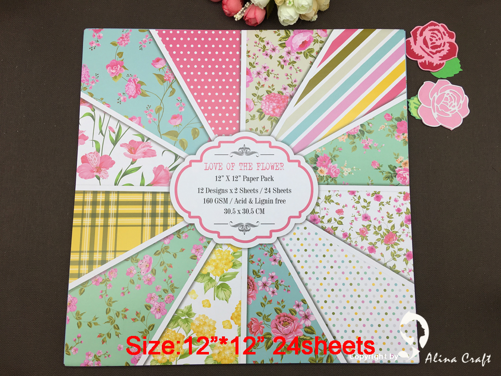 """Download 24 sheets 12""""X12"""" patterned paper Scrapbooking paper pack ..."""