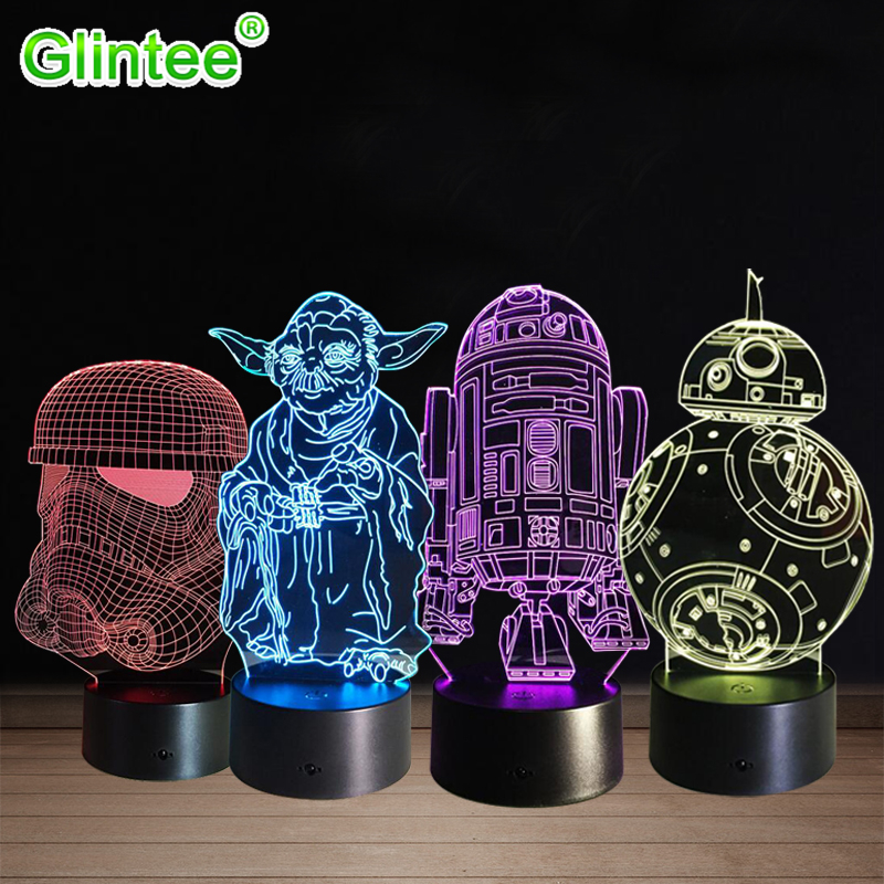 Star Wars Yoda 3D LED Acrylic Night Light Darth Vader Stormtrooper R2-D2 Robot Master Lamps Cartoon Luminous Baby Touch Lighting sheli laptop motherboard for hp dv6000 443775 001 for amd cpu with integrated graphics card ddr2 100% tested fully