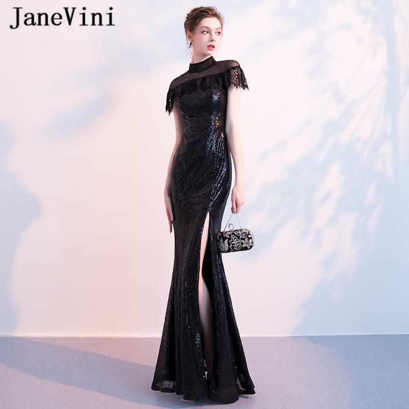 JaneVini Sparkly Black Sequins Long   Bridesmaid     Dresses   Mermaid High Neck Sleeveless Zipper Back Floor Length Vestido Largo Negro