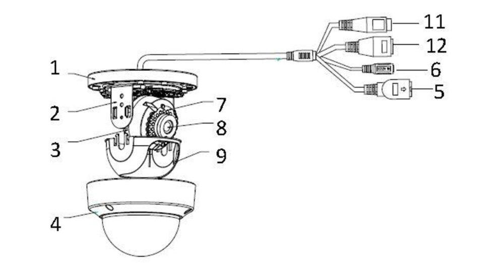 Hikvision original DS-2FP2020 cctv microfone adaptador para