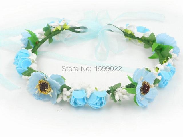 93e1b60b139 Handmade Bohemian Flower Girl Headpiece Artificial Cherry Blossom Flowers  Crown Wedding Headband DIY Bridal Headwear Blue White