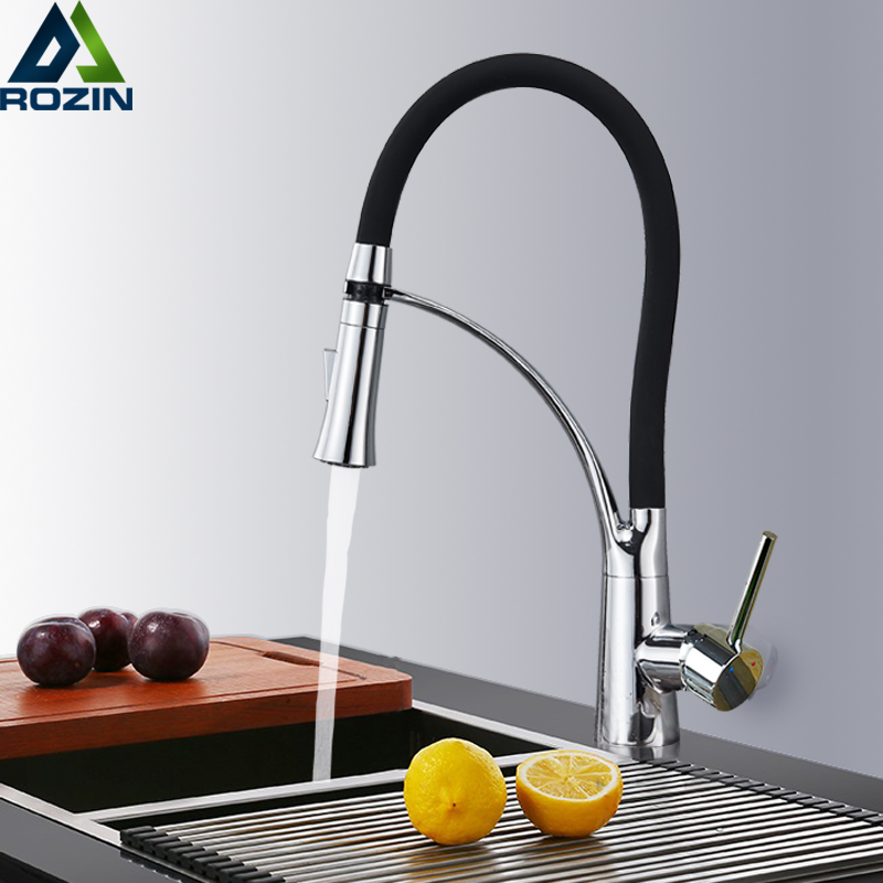 Deck Mount Black Hose Kitchen Mixer Taps Single Handle Stream Sprayer Kitchen Faucet Chrome Finish with