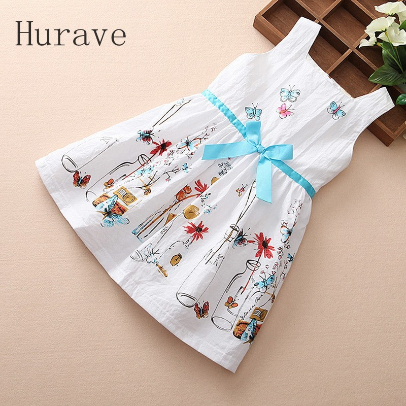 Hurave NEW girl dress summer kids clothes clothing for girls England style dress children costumes