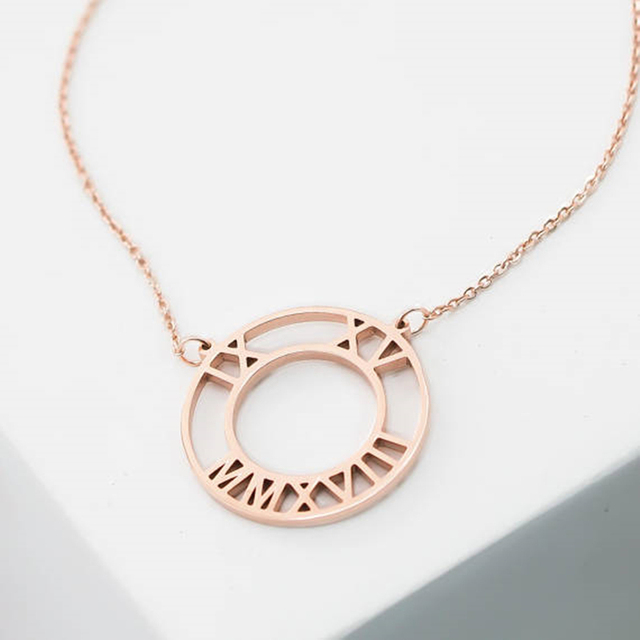 Wedding Date Jewelry Personalized Roman Numerals Necklace Pendant