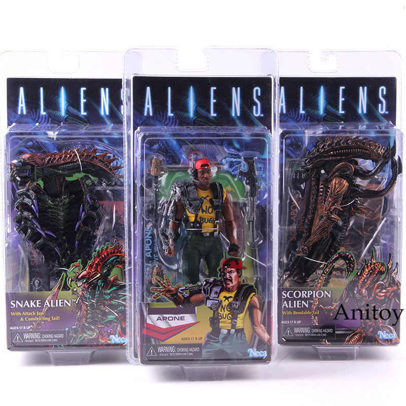 NECA Alien VS Predator Action Figure Apone AVP Scorpion Alien Con Pieghevole Coda di Serpente Alien Kenner PVC Da Collezione Model Toy