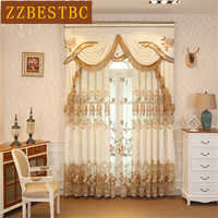 European luxury top embroidered Velvet Curtains for the Living Room high-end custom classic villa flat Curtain for Bedroom