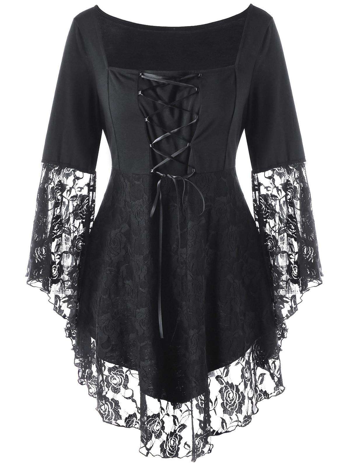 ba37b916f4d AZULINA Gothic Blouses Shirts Women Plus Size Square Collar Flare Sleeve  Lace Hem Ladies Tops Black Blouse Blusas Woman Clothes