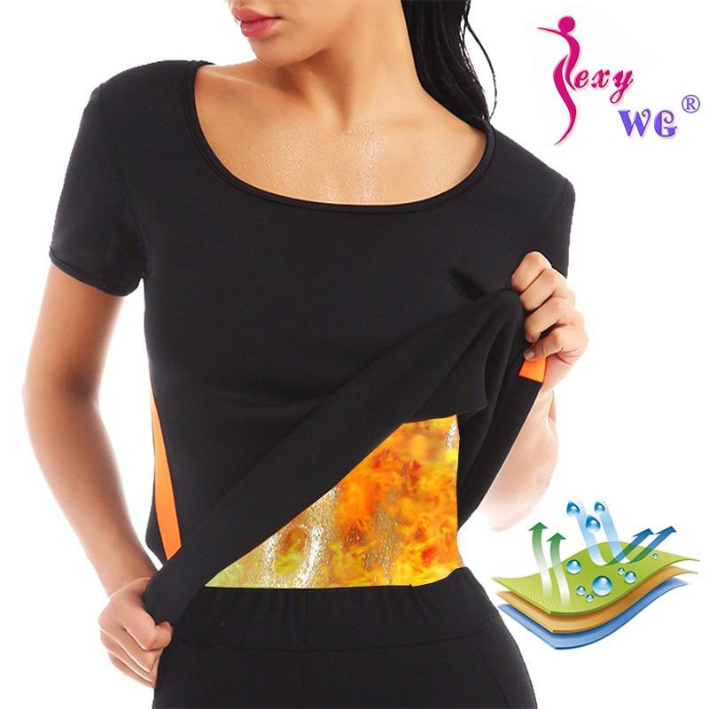 SEXYWG Sportwear Yoga Shirt Women Neoprene Hot Sweat Sauna Suit Waist Trainer Body Shaper Slim Vest Breathable Tank Tops Blouses