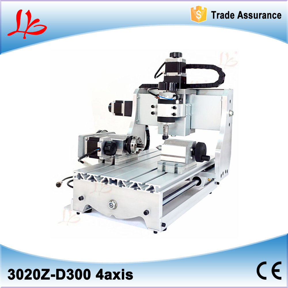 4 Axis CNC 3020 Z Mini CNC Router, 4axis Engraving Machine with Ball Screw 300W Spindle Motor For Woodworking & PCB Drilling no tax mini desktop cnc milling engraving machine cnc 3020z d300 with ball screw and 300w spindle
