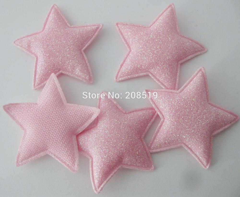 PANNGW микс 80 шт Блестящий фетровый тканевый аппликации около 45 мм звезда патч ручной работы декоративная заплатка для ювелирных изделий для волос - Цвет: only Pink color T