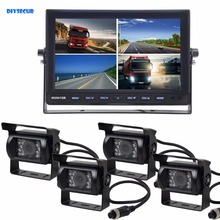 DIYSECUR 1080 x 600 4-PIN 10Inch Split QUAD Monitor + 4 x CCD IR Night Vision Rear View Camera Waterproof Monitoring System