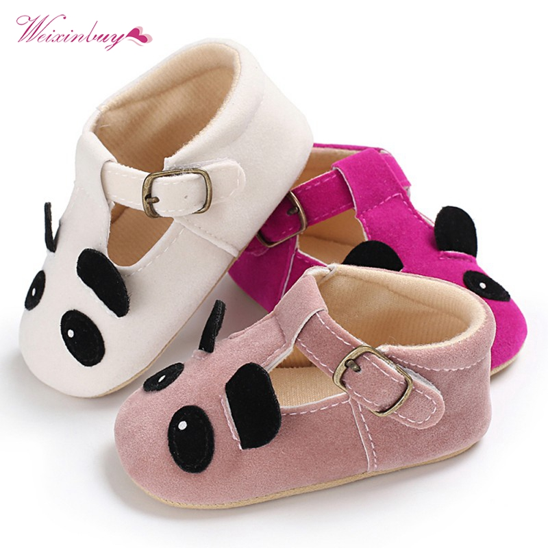 Toddler Baby Girl Soft sole Princess Shoes lovely cute panda flower style Infant Prewalker Newborn Baby Shoes for girls 0-18M