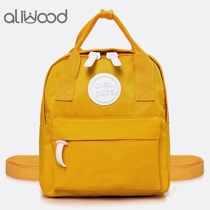 Aliwood Simple Canvas Backpack School Bag Women's Small Backpack For Adolescent Girls Female Satchel Mini Parent-Child Backpack
