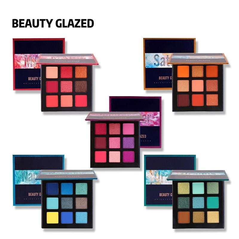 Eye Shadow Capable Beauty Glazed Matte Shimmer 9 Colors Eyeshadow Palette Glitter Glow Kit Waterproof Eyes Cosmetics