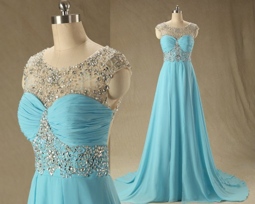 Exquisite Elegant Blue Evening Dresses Floor Length With Sheer Beading Neck Chiffon Cap Sleeves