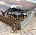 Handmade Weave Braid Leather Alloy Maple Leaves Brown Leather Bangle Bracelet Jewwlry For Women Men Gift