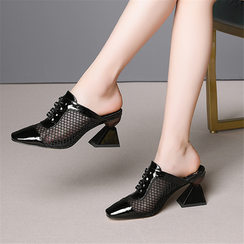 Dilalula 2019 Big Size 33-43 Genuine Leather Shoes Mules Women Summer High Heels Luxury Sandals Women Party Shoes Woman
