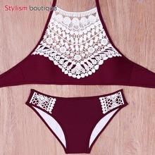 Sexy Halter Crochet Bikini High Neck Red Bathing Suit Swimsuit Women Swimwear Biquini Maillot de Bain