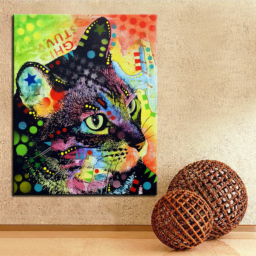 Large size Print Oil Painting Wall painting nappy cat Home ...