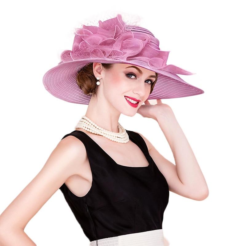 FS Elegant White Church Hats Summer Women Large Brim Organza Hat Black Beach  Fashion Lady Sun Flowers Derby Hat-in Sun Hats from Apparel Accessories on  ... b1ecd4dd1718