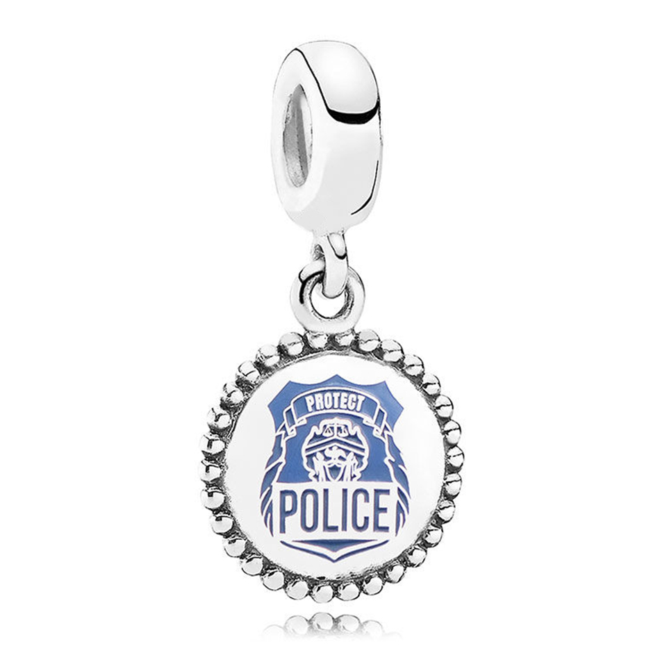 Authentic 925 Sterling Silver Blue Enamel Police Pendant Hanging Charm Fit Pandora Bracelet Bangle For Women DIY Jewelry Making