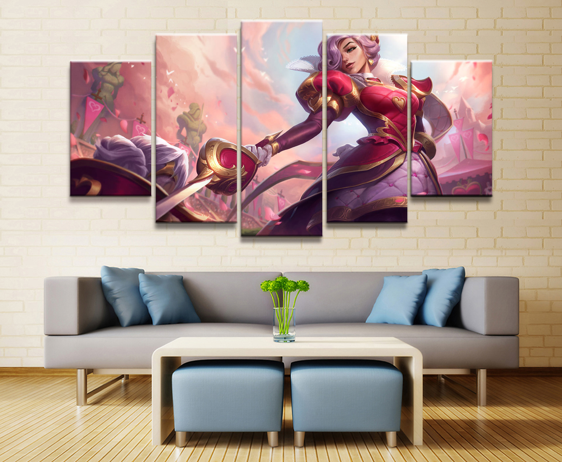 5 Panel LOL League of Legends Fiora Laure Game Canvas Printed Painting For Living Room Wall Art Decor HD Picture Artworks Poster in Painting Calligraphy from Home Garden