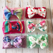 40pcs/lot Newborn Baby Headbands Big Bows Floral Printed Top Knot Hair bands Infant Girls Headwraps Elastic Wide Turban Headwear