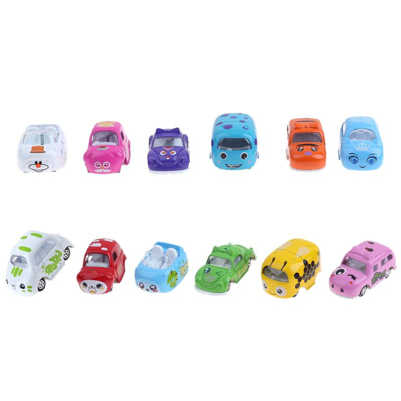 6pcs/set Kids Mini Car Toys Mixed Funny Cartoon Animal Alloy Car Model Mini Children Car Toys Gift