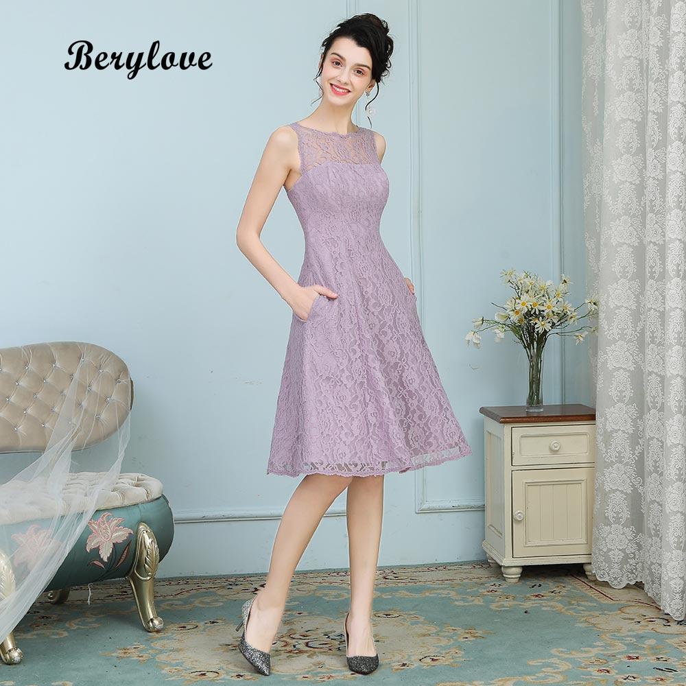 BeryLove Short Knee Length Lavender Lace Bridesmaid Dresses 2018 Short Wedding Party Dresses Homecoming Dress Bridesmaid Gowns