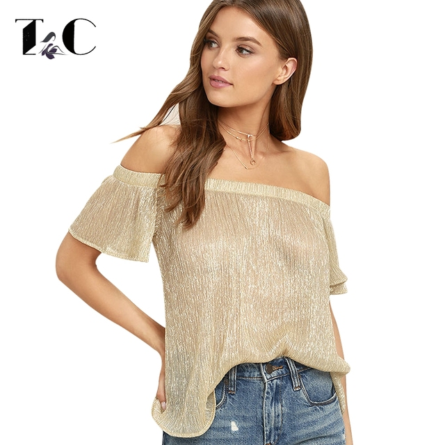 Tc 2017 Off Shoulder Blouses Sexy See Through Women Shirts Short