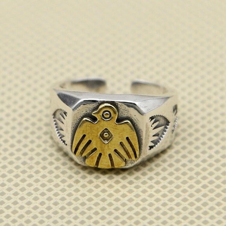 Винтаж индийский Стиль Thunder птица манжеты кольцо Для мужчин широкая полоса хвост кольцо 100% реальные одноцветное стерлингового серебра 925 Пр...