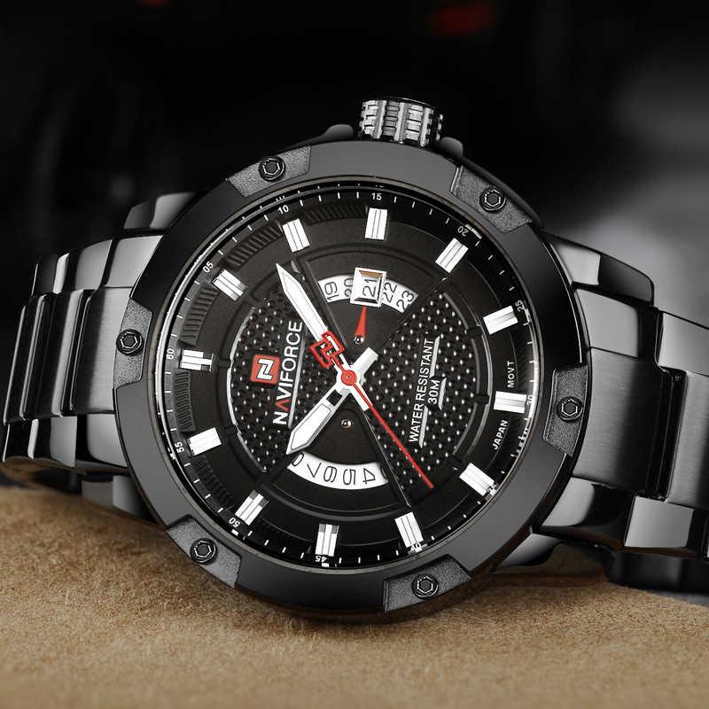 NAVIFORCE hommes montres haut de gamme marque mâle montres en acier pleine montre à Quartz analogique étanche sport armée militaire montre-bracelet