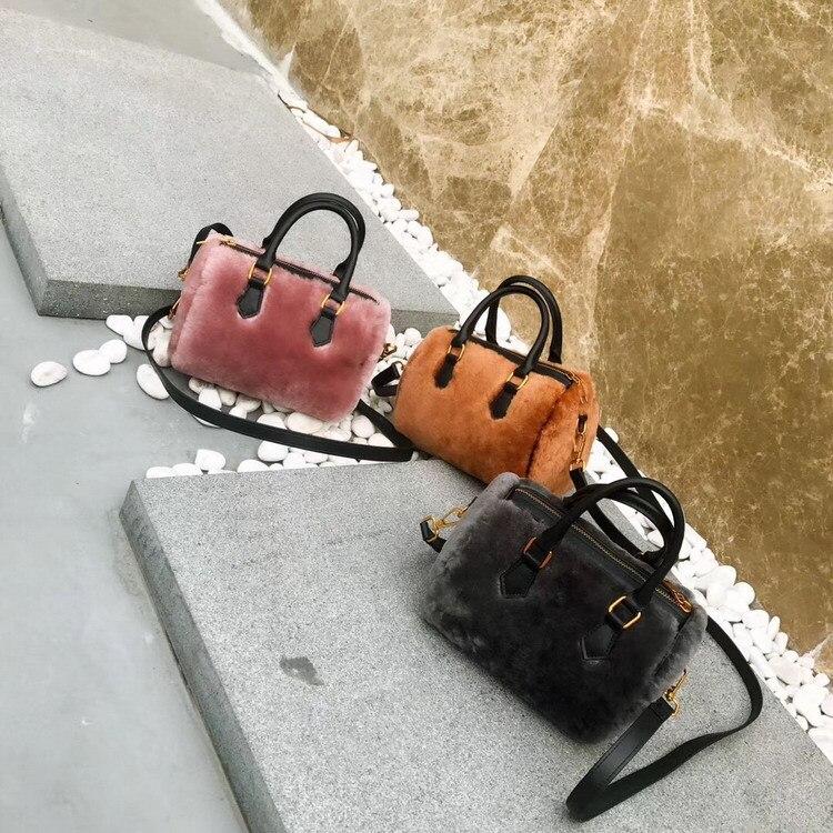 Мини сумка новая кожаная сумка на молнии женская осенняя и зимняя меховая сумка из овечьей шерсти Бостонская сумка кожаная сумка - 4