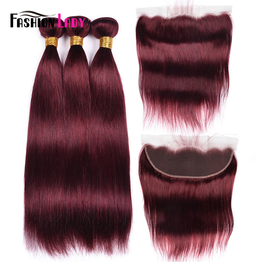 Fashion Lady Burgundy Hair 99j Brazilian Straight Hair Weave 3 Bundles With Frontal 100% Human Hair Frontal With Bundles NonRemy