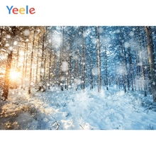 Yeele Winter Forest Bokeh Lights Fallen Snow Decor Photography Backdrops Personalized Photographic Backgrounds For Photo Studio