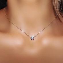 Простой маленький круглый 1 карат Кубический цирконий розовое золото цвет кулон ожерелье Горячие ювелирные изделия для женщин и девочек N388 N453 N454