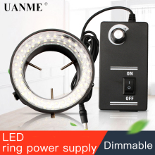 UANME 144 LED Adjustable Ring Light illuminator Lamp For Industry Microscope Industrial Camera Magnifier free shipping 144 led four zone microscope ring light with adapter 90 240v microscope led light