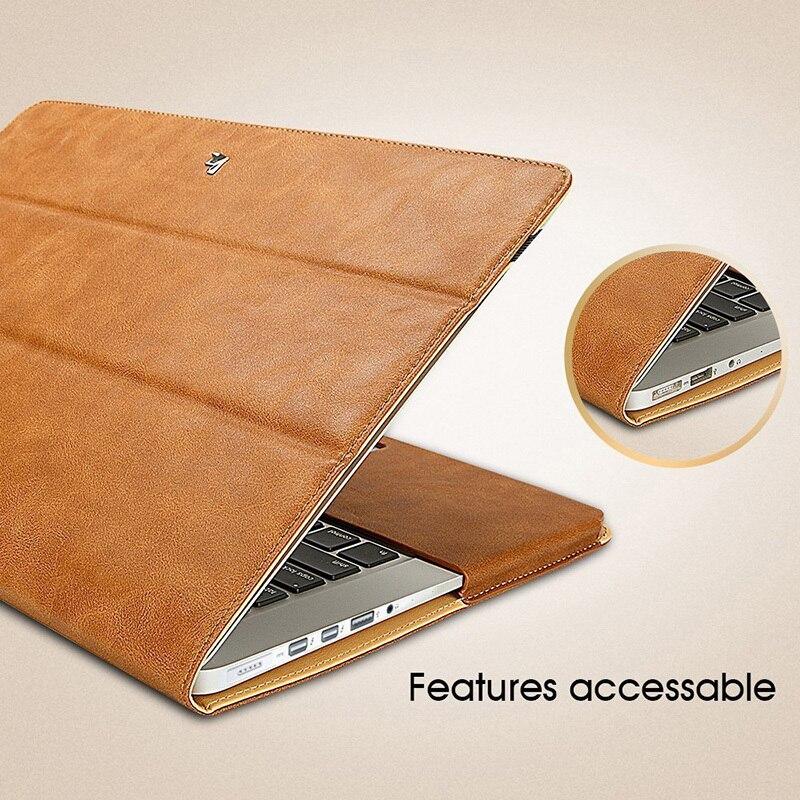 Jisoncase étui socle en cuir pour MacBook Air Pro Retina 11 12 13 15 pouces étui Folio manchon luxe sacs pour ordinateur portable étuis PU - 4