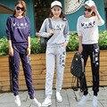 Novos roupas femininas lazer Carta impressão de malha de algodão conjuntos de pijama pijamas da longo-luva tamanho grande camisola