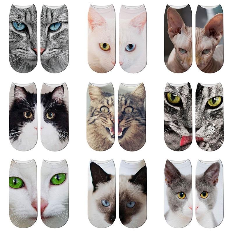 Cat Face 3D Printing Female Socks Women Harajuku Pet Cute Socks Cat Pattern Low Cut Ankle Socks Calcetines Mujer Casual Hosiery